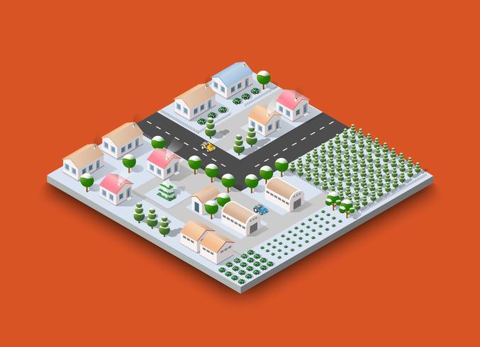 Isometrisches Konzept des Stadtmodul-Schöpfers von städtischem vektor