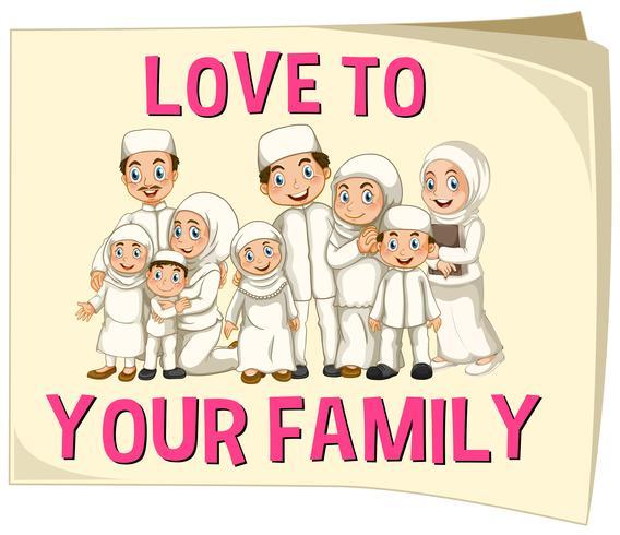 Moslemische Familie, die weiße Kleidung trägt vektor