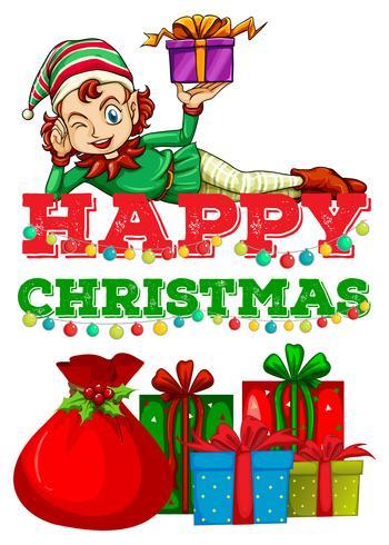 Weihnachtsthema mit Elf und Geschenken vektor