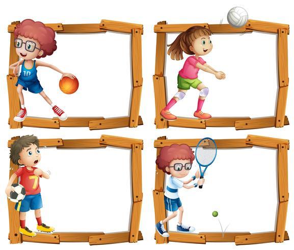 Rahmenschablone mit den Kindern, die Sport spielen vektor