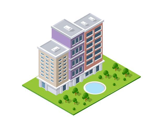Isometrisk landskapsdesign. Vektor illustration isolerad för