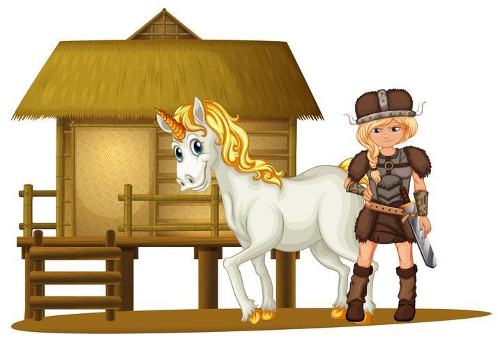 Weiblicher Wikinger und Einhorn an der Holzhütte vektor