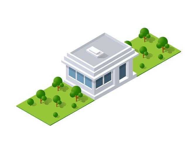 Isometrische Landschaftsgestaltung. Vektorillustration lokalisiert für vektor