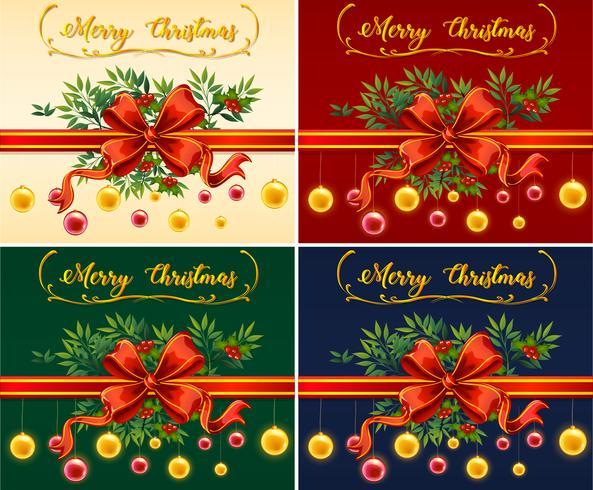 Fyra julkort med olika färgbakgrunder vektor