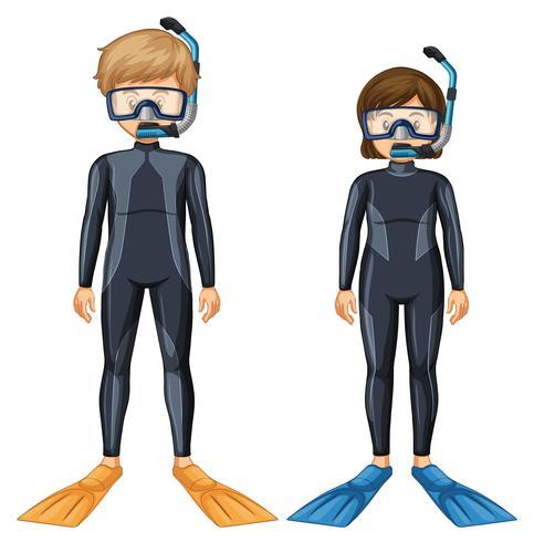 Två dykare med mask och fin vektor
