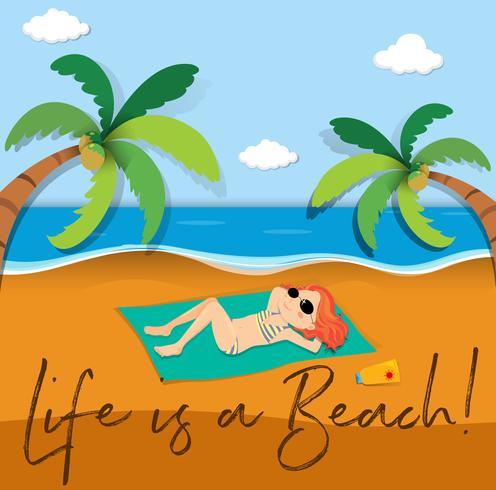 Phrase Ausdruck für das Leben ist ein Strand vektor