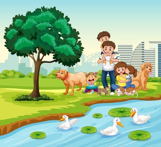 Familj på parken vektor