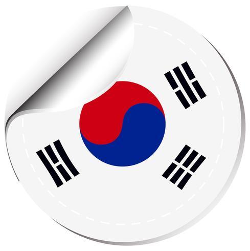 Klistermärke design för Sydkoreas flagga vektor