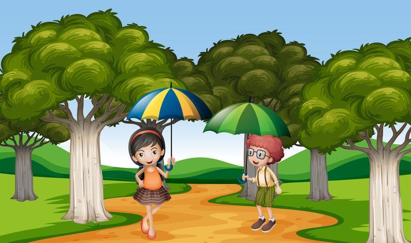 Zwei Kinder mit Regenschirm im Park vektor