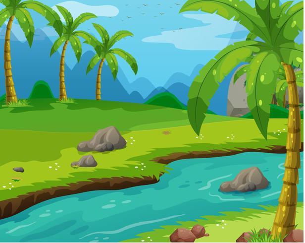 Szene mit Fluss durch das Feld vektor
