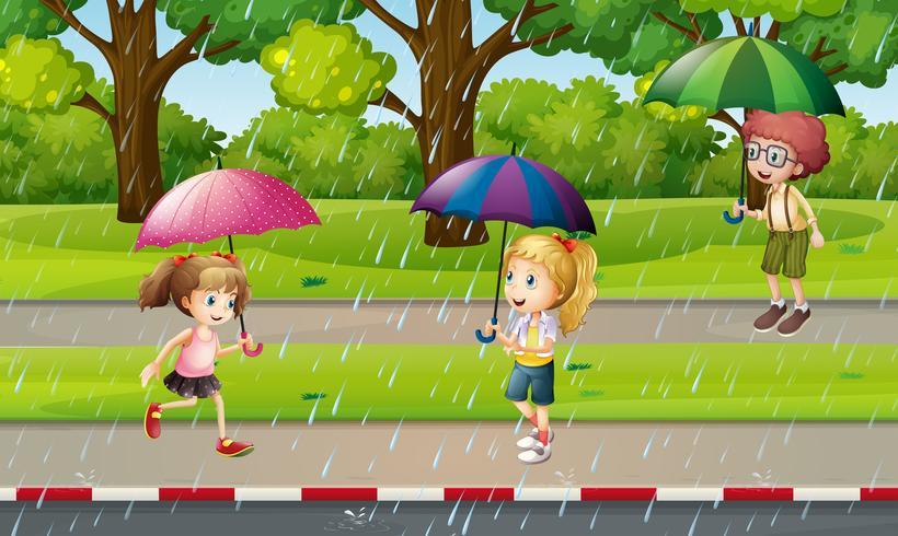 Parkszene mit Kindern im Regen vektor