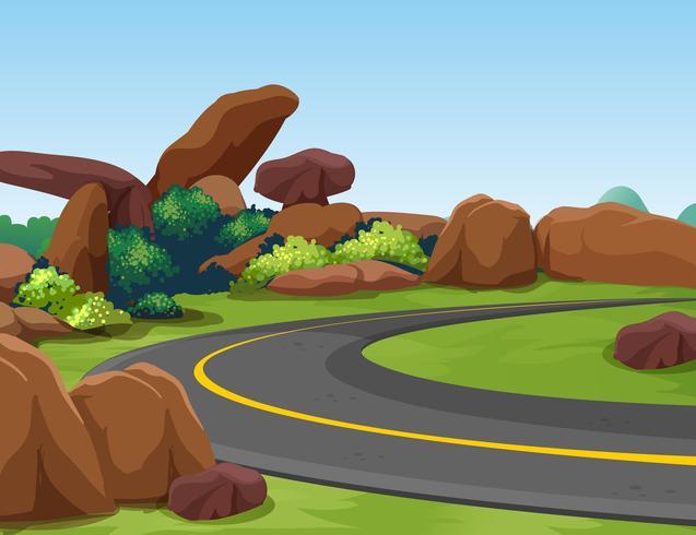 Scen med stenigt berg och väg vektor