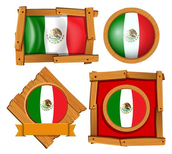 Mexiko-Flagge in verschiedenen Rahmendesigns vektor