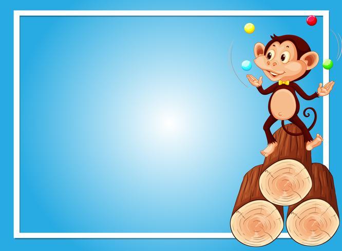 Blå bakgrundsmall med apa jongleringskulor vektor