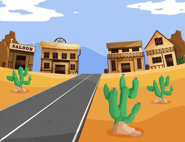 Westernszene mit Gebäuden und Straße vektor