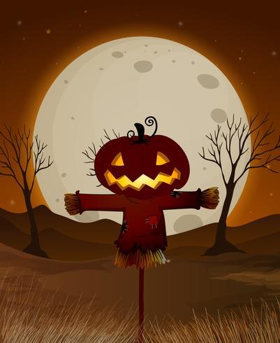Halloween-Vollmond-Nachtszene vektor