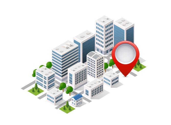 Stadssätt isometrisk av stadsinfrastruktur vektor