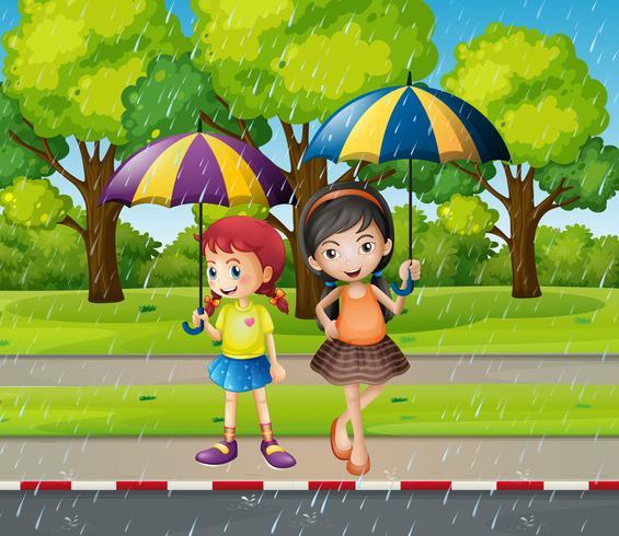 Två tjejer med paraply i regnet vektor