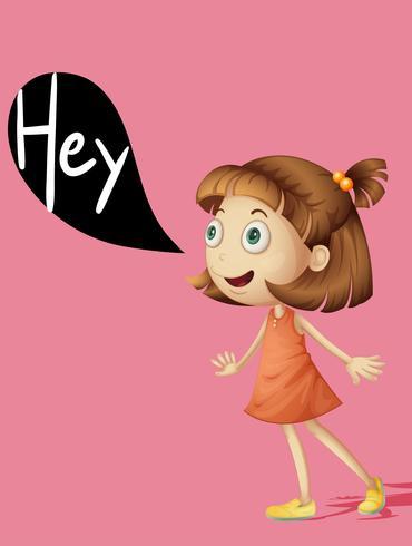 Lilla tjejen säger hej vektor