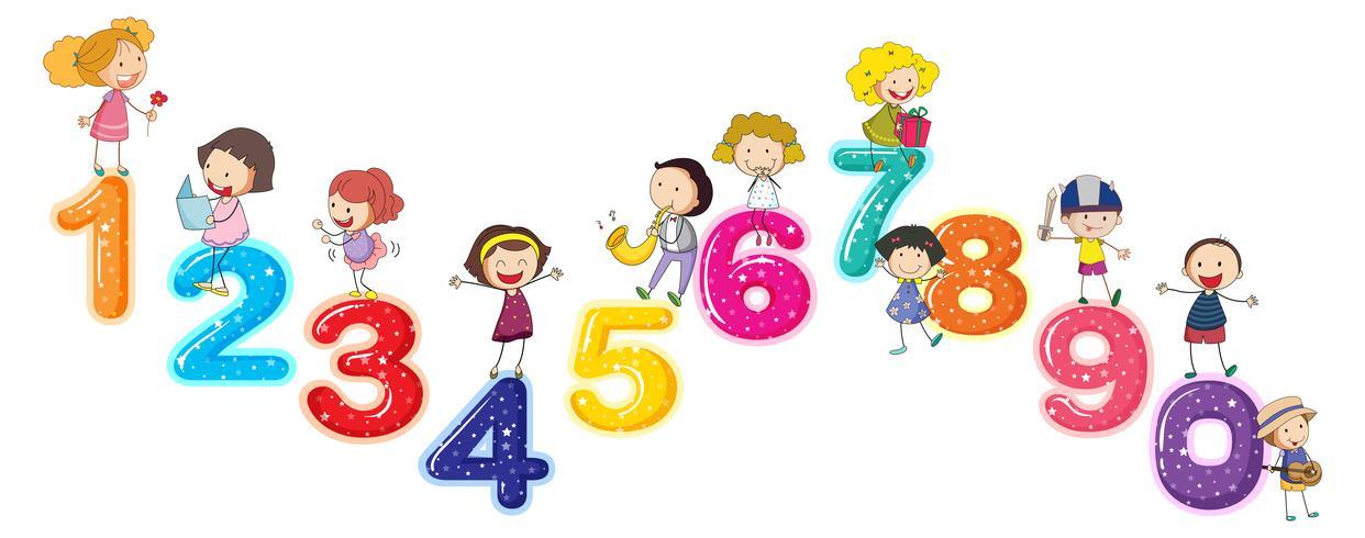 Räkna siffror med små barn vektor