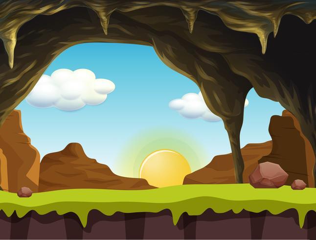 Eine Naturlandschaft bei Sonnenaufgang vektor