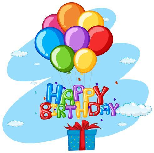 Grattis på födelsedags tema med present och ballonger vektor