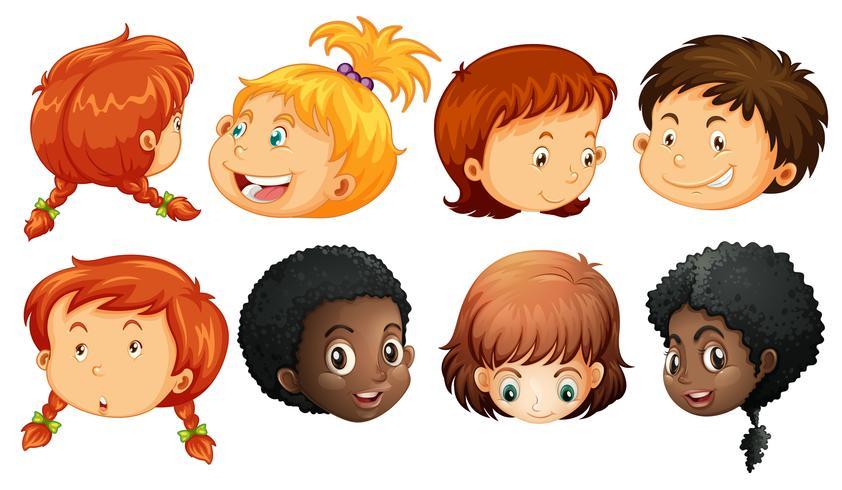 Olika ansikte av pojkar och tjejer vektor