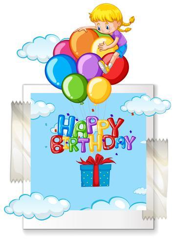 Grattis på födelsedagskort med tjej på ballonger vektor