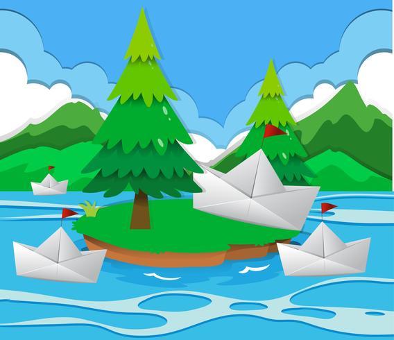 Papierboote schwimmen auf dem See vektor