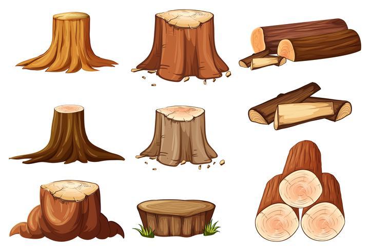 En uppsättning av trädstubbe och timmer vektor