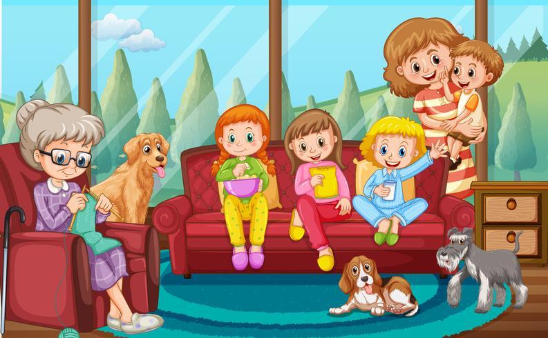 En lycklig familj i vardagsrummet vektor