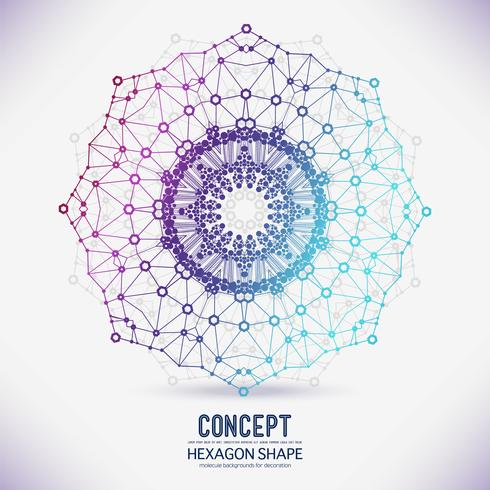 Abstraktes geometrisches Gitter, die Reichweite der Moleküle, die Moleküle im Kreis. vektor
