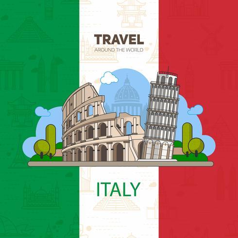 Italienska landmärken, historisk arkitektur, på bakgrunden av flaggan med sömlösa bakgrunder. vektor