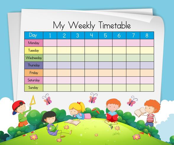 Wöchentliche Stundenplanschablone mit den Kindern, die im Park spielen vektor