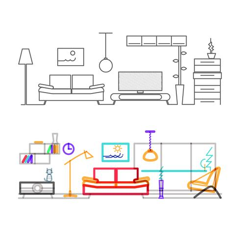Flaches Design der dünnen Linie des modernen Wohnzimmers mit Möbeln, Farbversion der Linien in der Überlagerungsmodusfarbe. vektor