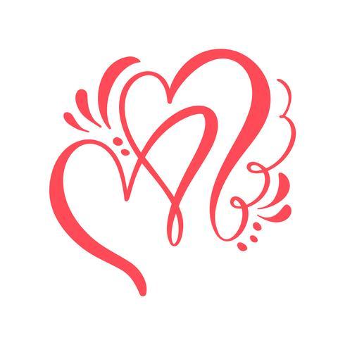 Två älskare kalligrafiska hjärtan. Handgjord vektor kalligrafi. Inredning för gratulationskort, mugg, fotoöverdrag, t-shirt, flygblad, affischdesign