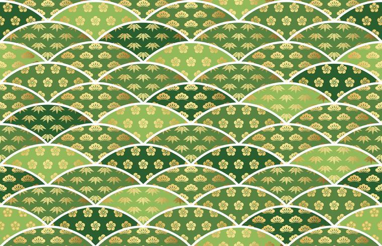 Japanskt traditionellt lovande mönster med tall, bambu och plommon. vektor