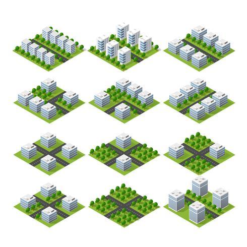 City set kvart överst i landskapet isometrisk 3D-projektion vektor