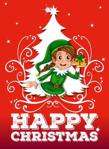 Weihnachtsthema mit Elf und Geschenk vektor