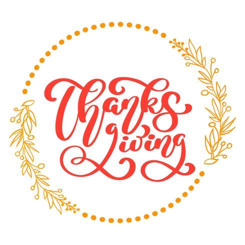 Glücklicher Erntedank-Kalligraphie-Text, Vektor illustrierte die Typografie, die auf weißem Hintergrund lokalisiert wurde. Positives Zitat. Handgezeichnete moderne Bürste. T-Shirt-Druck
