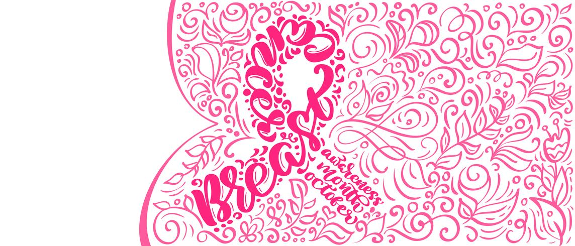 Stylized rosa band med vektor citat Breast Canser för oktober är Cancer Awareness Month Kalligrafi bokstäver illustration Affisch Design isolerad på vit bakgrund
