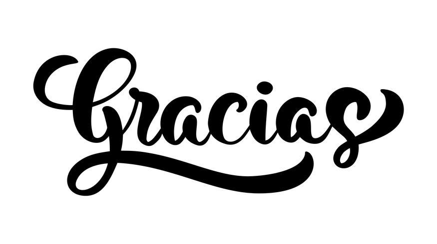 """Gracias"" handskriven bokstäver vektor"