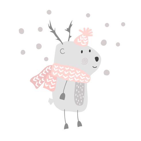 Jul vektor gullig tecknad hjort i hatt och halsduk illustration design. bambi djur vektor. Merry Xmas hälsningskort