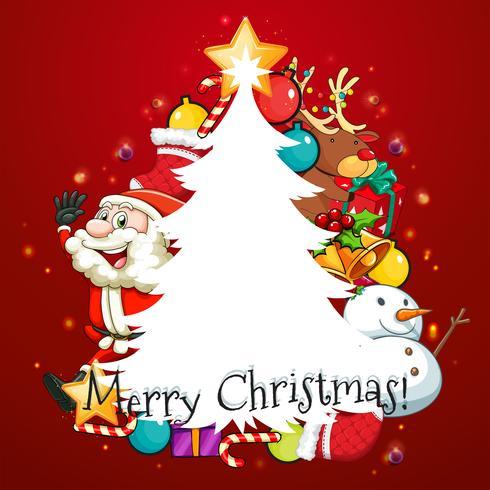 Frohe Weihnachten Karte mit Santa und Baum vektor
