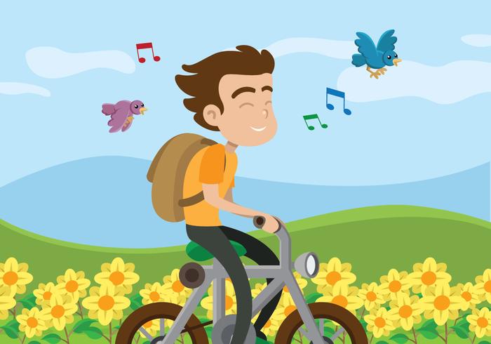 Ein Junge, der Fahrrad auf einem Blumenfeld fährt vektor