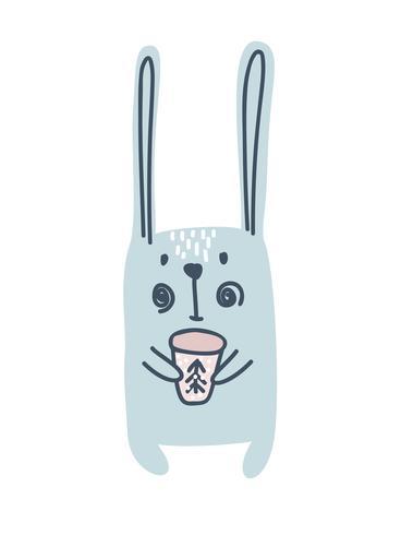 Fannyhare eller kanin i skandinavisk stil. Jul söt hälsningskort. Vektor illustration