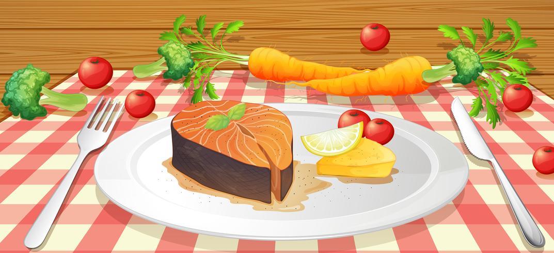 Lax Stake med färska grönsaker vektor