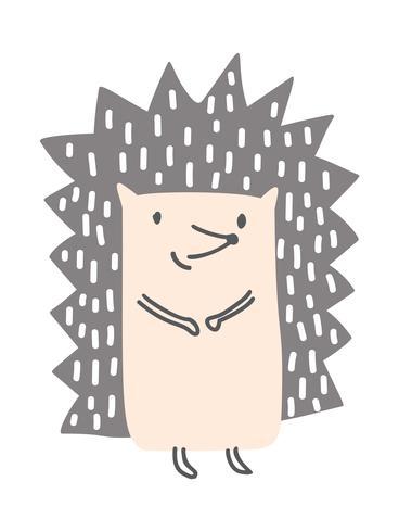 Igel Baby niedlich drucken. einfaches skandinavisches Kinderdesign. Süßer Tier Kind Vektor. Coole Illustration für Kindergarten T-Shirt, Kinder Kleid, Einladung vektor