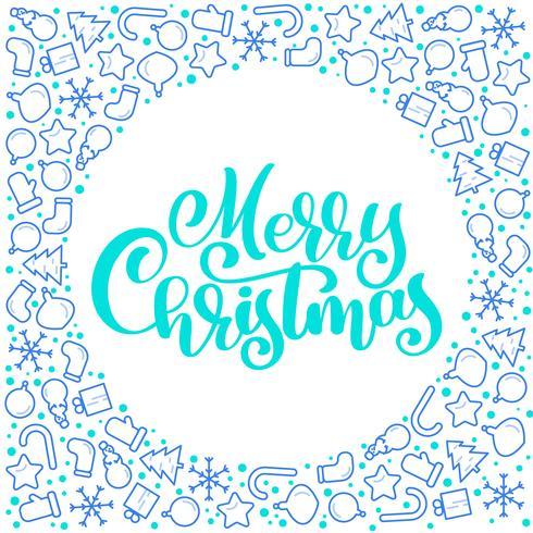 Frohe Weihnachten-Kalligraphievektortext mit Weihnachtsattributen Briefgestaltung auf weißem Hintergrund. Kreative Typografie für Holiday Greeting Gift Poster. Schriftstil Banner vektor