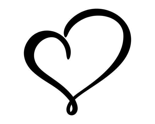 Kalligrafisk kärlekshjärta tecken vektor